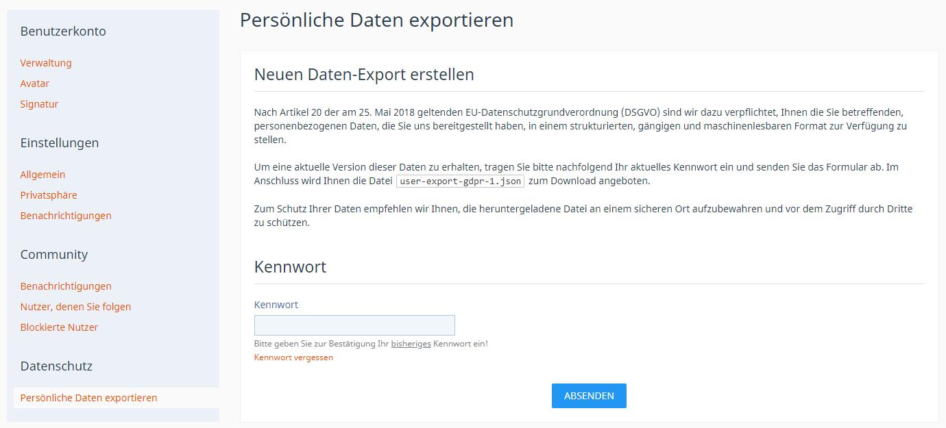 DSGVO Daten-Export-Frontend